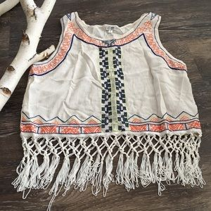Girls Bohemian Crop Top With Fringe